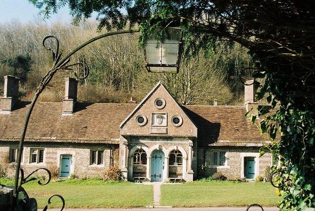 Milton Abbey: almshouses through churchyard gate