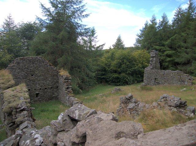 Ruined farm buildings near Bryn y Crofftau