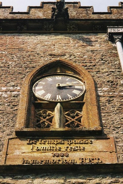 Minterne Magna parish church: clock detail