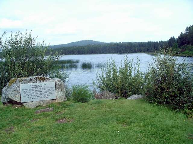 Stroan Loch and memorial stone