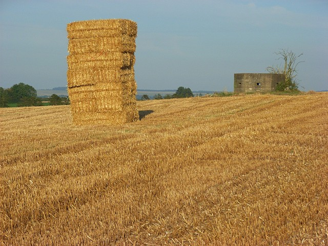 Bales and pillbox, Great Durnford