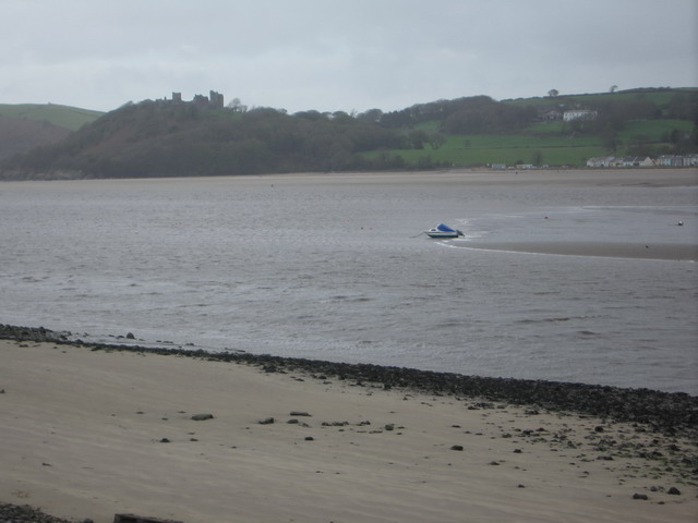 Sandbar in the River Towy with Llansteffan Castle distant