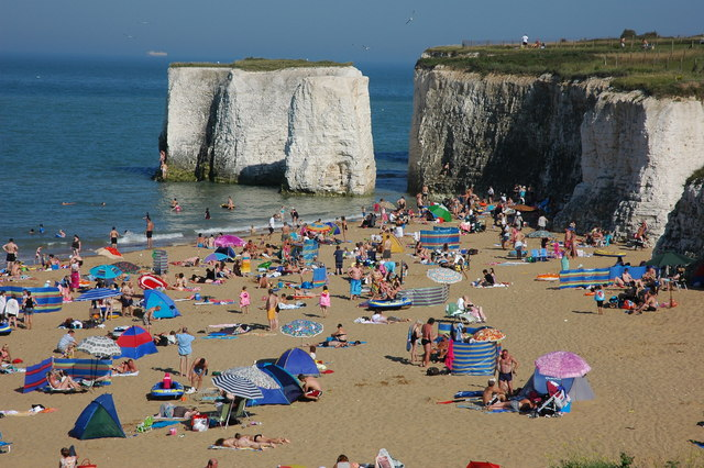 3 km from St Peter's, Kent, Great Britain. Chalk Stack, Botany Bay