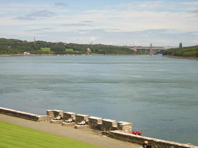 Pont Britannia from Plas Newydd waterfront