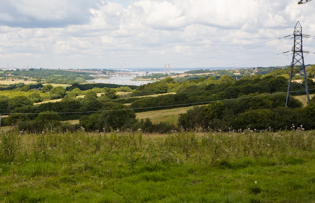 View of River Medina and Cowes from footpath north of New Fairlee Farm