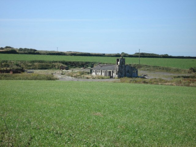 Ruined buildings on the edge of RAF Brawdy