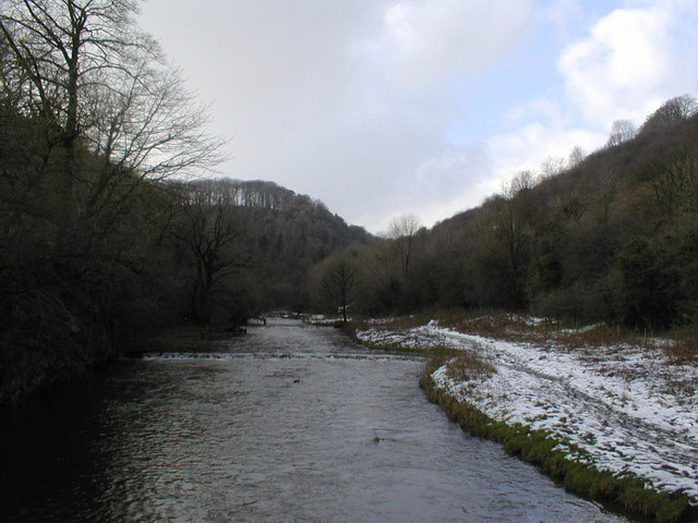 River Wye looking upstream towards the stepping stones