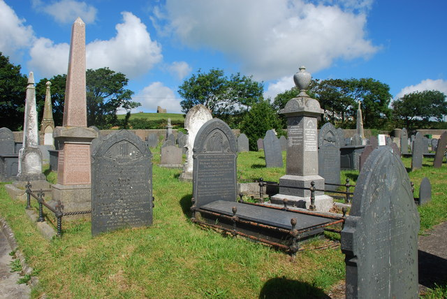 Mynwent Capel y Bwlch a'r hen felin wynt - Capel y Bwlch graveyard and the old windmill