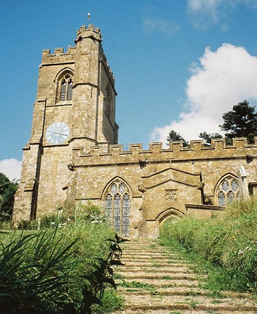 Netherbury parish church: tower and steps