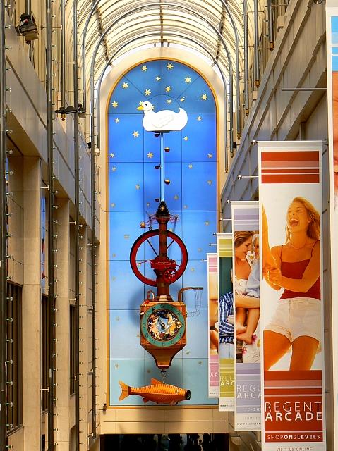 Kit Williams clock, Regent Arcade, Cheltenham