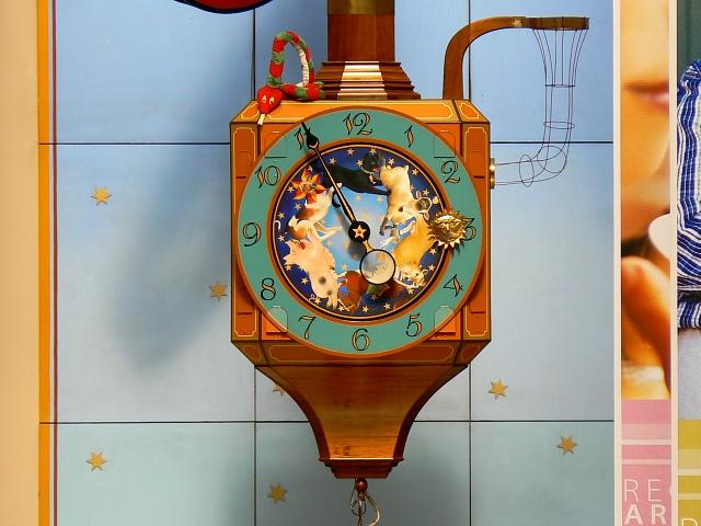 Kit Williams clock close-up, Regent Arcade, Cheltenham