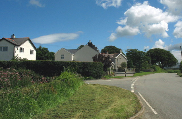 Road junction at the hamlet of Glasfryn