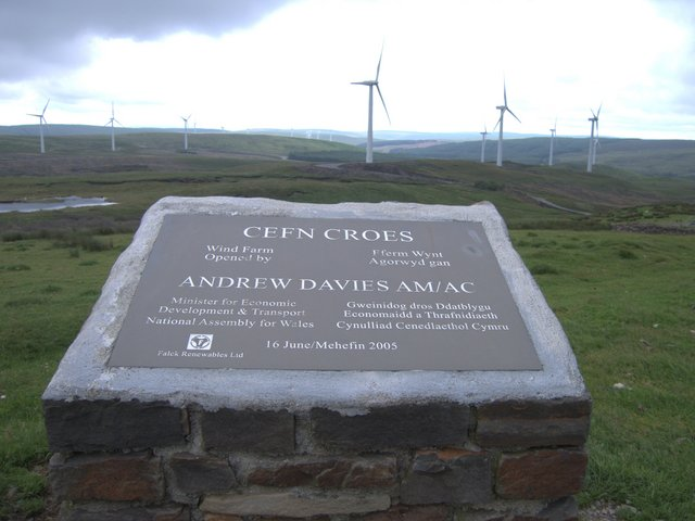 Plaque at the top of Cefn Croes wind power station