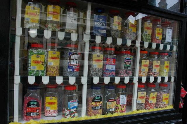 Sweet jars in shop window