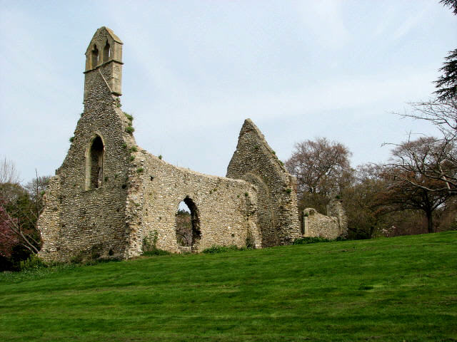 The ruin of St Margaret's church, Bayfield Hall