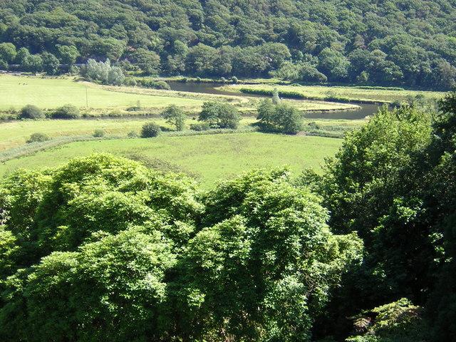 Afon Dwyryd meander from Plas Tan y Bwlch