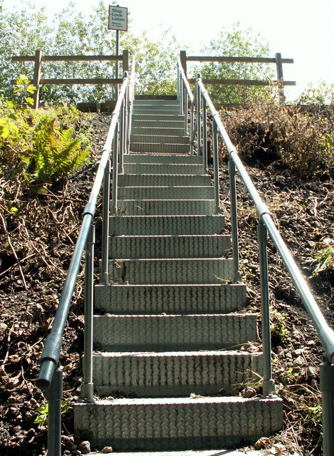 Steps to the pedestrian railway crossing from Silkston Fall Woods