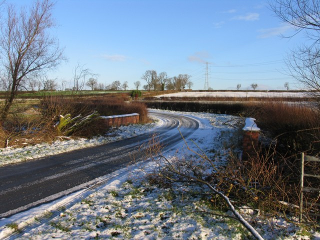 Gaddesby Lane looking towards Frisby on the Wreake in the snow