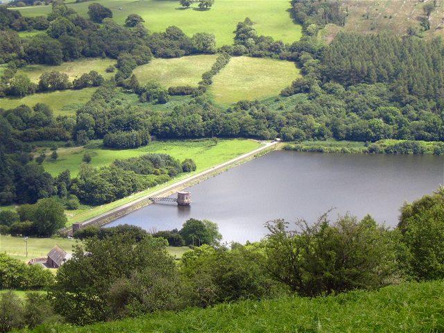 Talybont reservoir from above