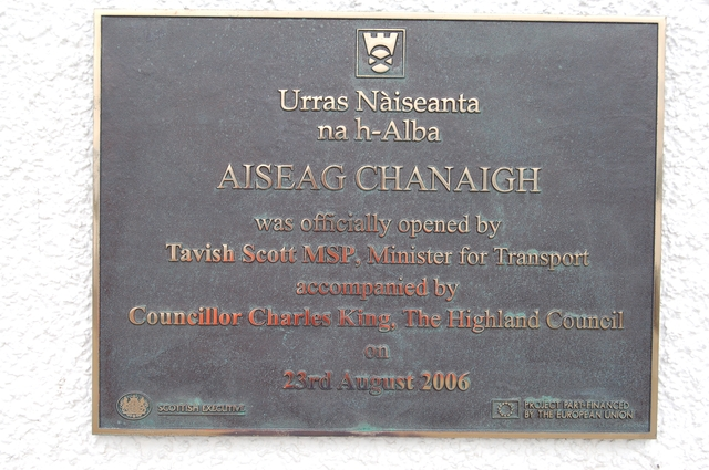 Plaque marking the opening of the new Canna pier