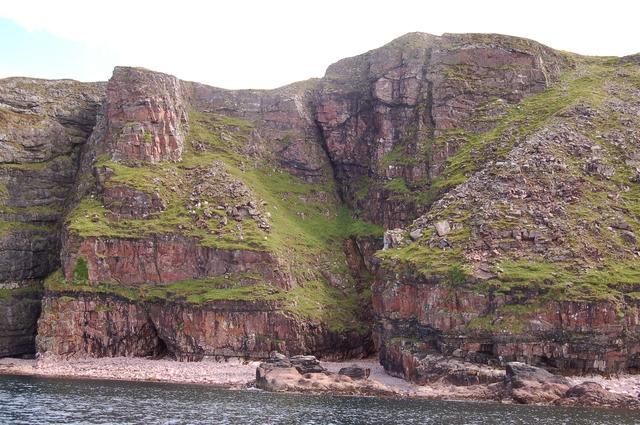 Sandstone cliffs at A' Mharagach