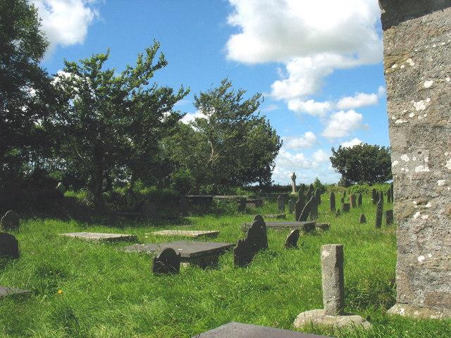 The graveyard of St Gredifael's Church