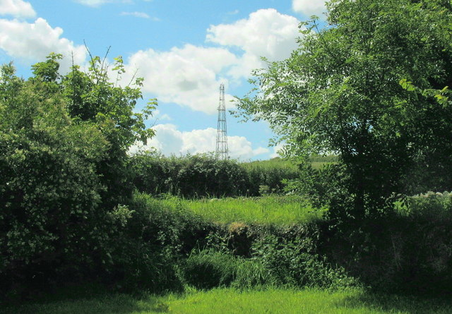 The Penmynydd high-speed broadband transmission mast viewed from the churchyard