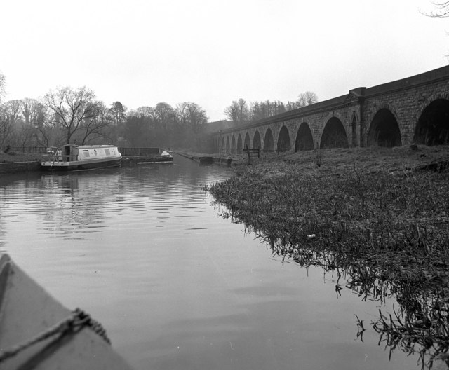 Chirk Aqueduct, Llangollen canal, and railway viaduct