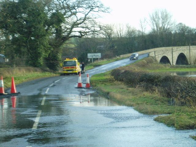 Flooding on the A712 near Kenbridge.