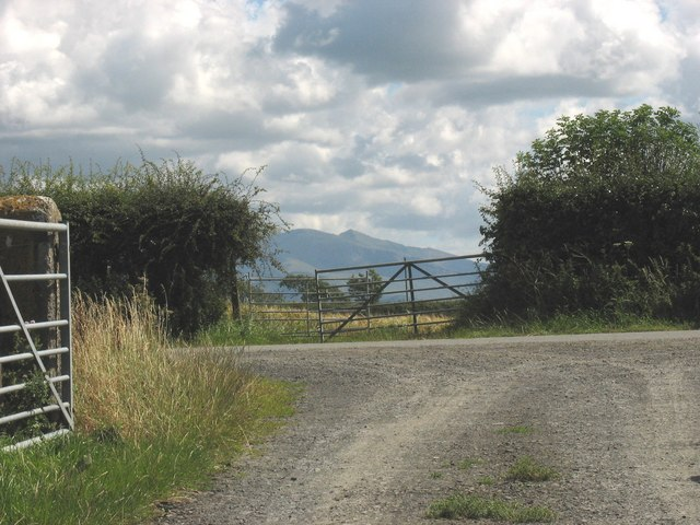 The junction of Lon Ty Fry with a minor country road