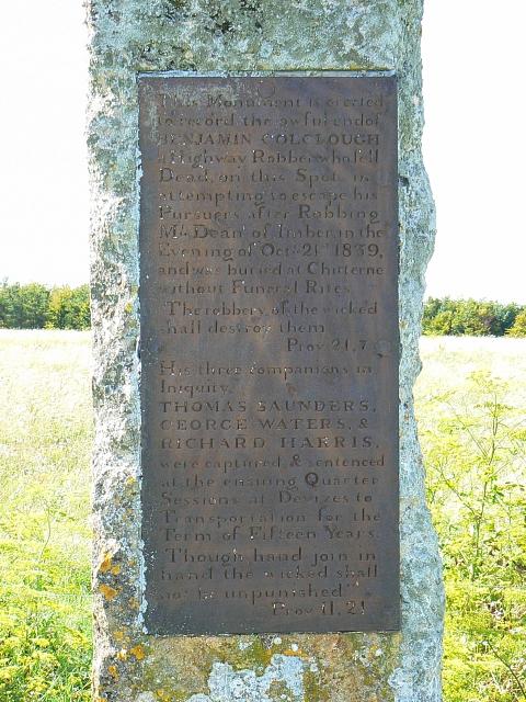 Monument to four highwaymen, Imber Range, near Tilshead