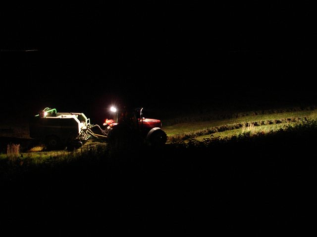 Late night baling
