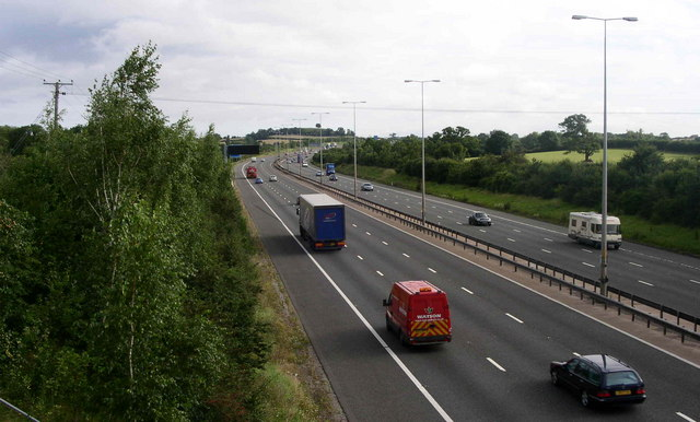 M5 northbound approaching Worcester south turnoff
