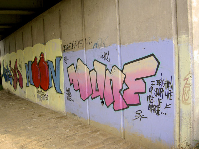 Graffiti under parkway bridge over river Dearne.