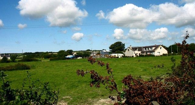 Houses on the southern edge of Dwyran