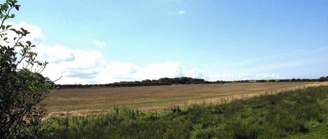 Harvested crop land south of Afon Braint