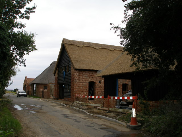 A set of Norfolk traditional farm buildings being restored for housing