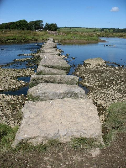 Stepping stones over Afon Braint
