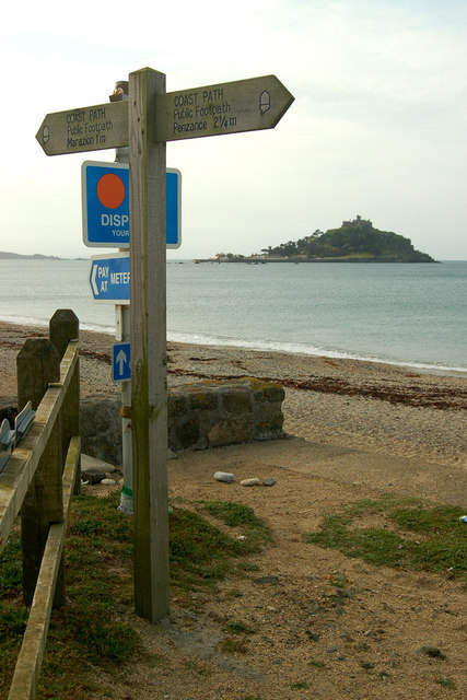 Signpost on the Cornish Coast Path at Long Rock