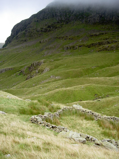 Sheepfold with Hutable Crag looming beyond