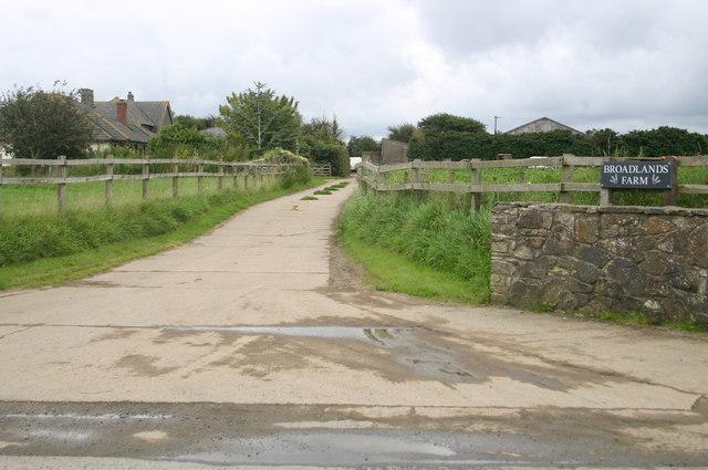 Entrance to Broadlands farm off Moor lane