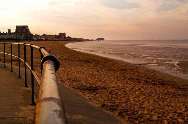 Cleethorpes beach at sunset.