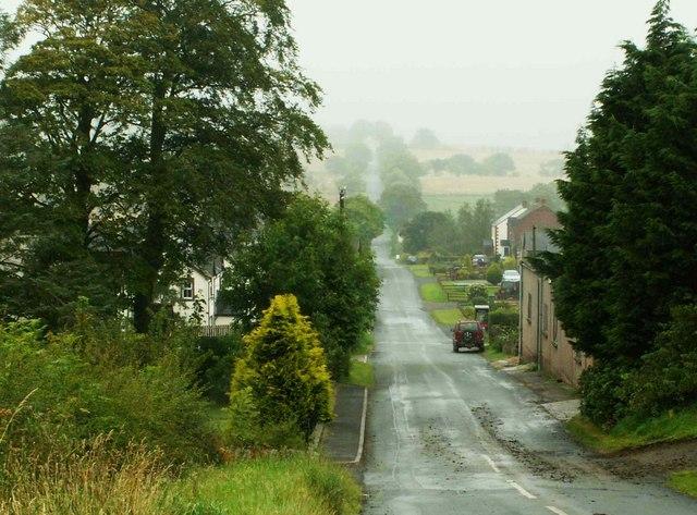 Misty view downhill to Roadhead