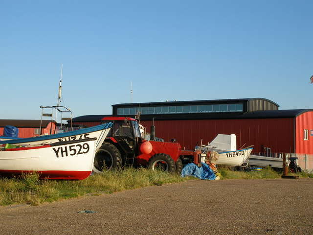 Local fishing boats are stored near the lifeboat station