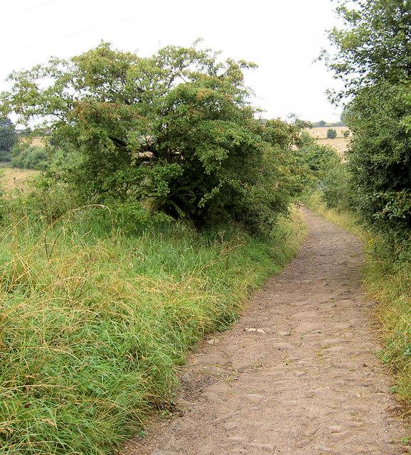 Cobbled lane from Grimethorpe to Cudworth.
