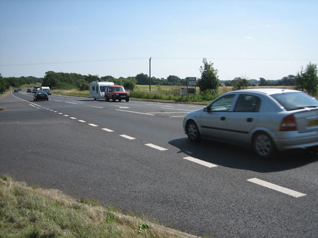 Traffic on A47 at Crane's Corner turn-off