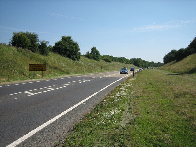 A47 in a cutting near Wendling