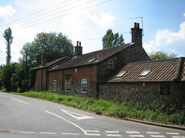 House at the junction near fishing lake, Litcham