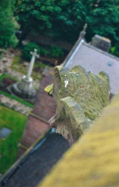Gargoyle and churchyard