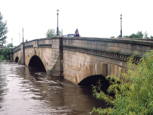 River Aire in flood at Castleford Bridge.